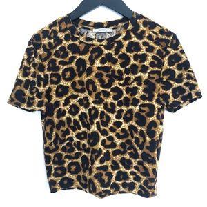Zara Trafaluc Cropped Leopard Print Top